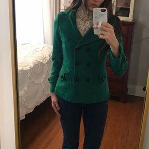 Green wool winter coat